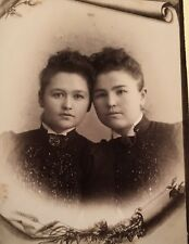 1900's Pretty Sisters Young School Girls Cabinet Card Photo Mason Michigan
