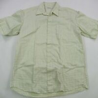 St Croix Short Sleeve Shirt Made in Italy Large Checks Cotton Casual Button Up