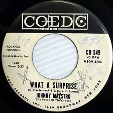 JOHNNY MAESTRO doowop VG COED promo 45 WHAT A SURPRISE the WARNING VOICE FM508