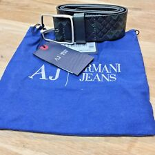 Armani Jeans Belt 100% Leather Signature Print NWT Italy Size 32