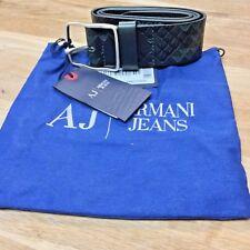 Armani Jeans Belt 100% Leather Signature Print NWT Italy Size 32