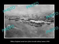 OLD LARGE HISTORIC PHOTO OF TILBURY ENGLAND, RIVERSIDE RAILWAY STATION c1920 1