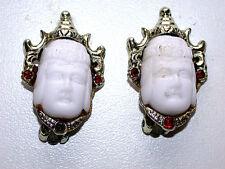 Unique Vintage Porcelain Face W/ Rubies In Silver Setting Tibetan Clip Earrings