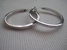 9ct white gold medium classic flat hoop earrings