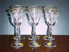 Tiffin #17399 Cherokee Rose Talisman Crystal with Gold Trim 6 Piece Wine Set