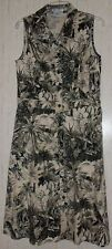 NWOT WOMENS MAGGY LONDON BLACK & KHAKI FLORAL PRINT SLEEVELESS DRESS   SIZE 12