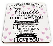 To My Gorgeous Fiancee Novelty Glossy Mug Coaster