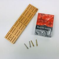 Travel Mini Cribbage Board With Metal Pegs and NIP Playing Cards