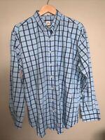 PETER MILLAR Summer Comfort Button Down Long Sleeve Shirt Size XL Blue Check EUC