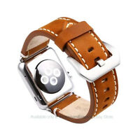 Genuine Thick Leather Buckle Watch Band Strap Belt for Apple Watch 38mm 42mm