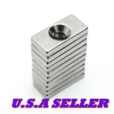 10pcs Block Countersink Magnet 20x10x3mm Hole 4mm Rare Earth Neodymium US SELLER