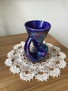 Unusual Small Vase Iridescent  Purple Green Blue  Made in England