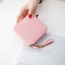 Womens Lady Mini Leather Wallet Card Holder Zip Coin Purse Clutch Handbag Pink