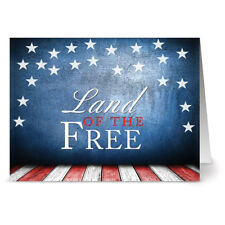 24 Patriotic Note Cards - Land of the Free - Red Envs