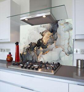 Toughened & Heat Resistant Printed Kitchen Glass Splashback - Gold Electric