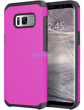SAMSUNG GALAXY S8 G950 PINK BLACK ASTRO ARMOR IMPACT HYBRID CASE 2-PIECE COVER