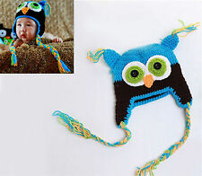 blue+black Cute Baby Boy/Girl Owls Knit Crochet Hat Children Beanie Cap