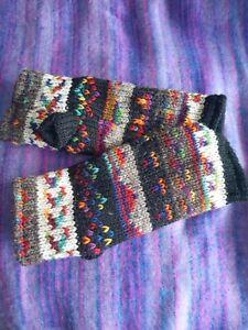 Wool multicolour Fair isle Handwarmers Handknit Polar Fleece Lining