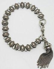 Vintage Antique Victorian Sterling Silver 925 Detailed Link Dangle Drop Bracelet