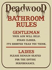 Vintage Retro Style DEADWOOD Bathroom Toilet Rules Metal Wall Door Sign 9x12