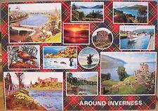 Scottish Postcard AROUND INVERNESS Multiview Plaid Piper Hail Caledonia 1990 4x6