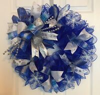 "22"" Handmade Winter Deco Mesh Snowflake Wreath In Silver & Blue"