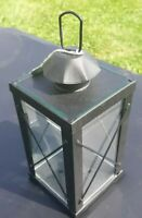 VINTAGE BLACK METAL LANTERN CANDLE HOLDER GLASS SIDES 9 1/4""