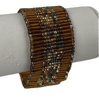 "Copper Color Handmade Seed Bead Bracelet Orange Southwest 1.25""   7"" magnetic"