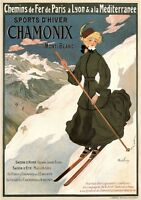 CHAMONIX, 1905 Vintage French Skiing Poster Rolled CANVAS ART PRINT 24x32 in.