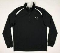 Puma Mens Golf Pullover Sweater Sz Medium Dry Cell 1/2 Zip Black/White A3