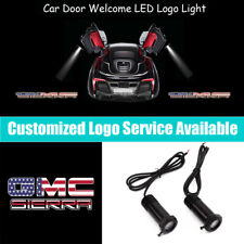 2x US Flag GMC SIERRA Logo Door LED Light Projector for 1500 2500 3500 HD Denali