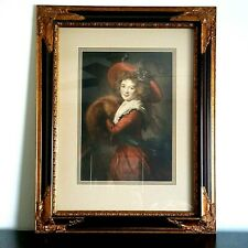 "New ListingVictorian Young Woman Lady Girl Ornate Gold Black Framed Art Print 23"" W x 29"" H"