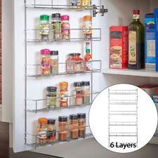 6 Tier Wall Mount Kitchen Door Jar Spice Rack Cabinet Storage Organizer Pantry