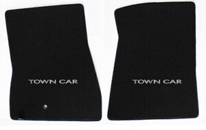 NEW! Black Floor Mats 1998-2010 Lincoln Town Car Logo Embroidered Both Set of 2