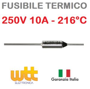 Fusibile termico assiale 216°C 250V 10A termofusibile cut-offs