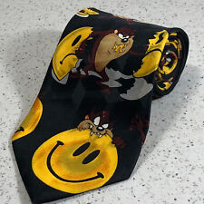 Tasmanian Devil Necktie smiley face taz tie black yellow Looney Tunes Warner 58""