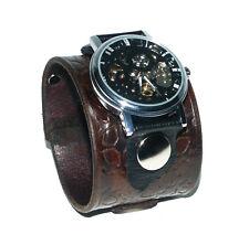Handstamped Brown in pelle orologio da polso Band Bracciale Steampunk Gotico-meccanica