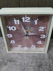 Vintage New Haven Quartz Faux Wood, Fruit Clock, Burwood Products Co  WORKING