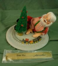 """Annalee Dolls 10"""" Santa Playing w/Train Signed 'Time Out' 1991 5408 AL782"""