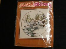 Vtg 1978 Sunset Stitchery Wool Crewel Embroidery Kit Winter Snowfall 2474 Sealed