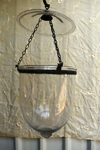 "Antique Lantern Hundi Belgian Lamps Glass Bell Jar Suspendu Lantern Hanging ""F41"
