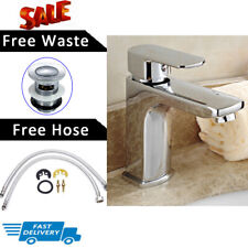 MODERN EFFECT TAP BATHROOM CHROME SOLID BRASS BASIN MIXER TAP & FREE WASTE