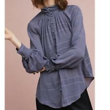 NWT ANTHROPOLOGIE FEATHER & BONE womens size L gray blue button down blouse
