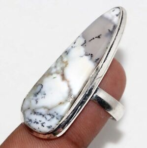 Dendritic Opal Ethnic Handmade Gemstone Ring Jewelry US Size-8 JW