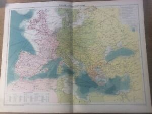 Vintage Antique 1939 Philips Map 20x15 Europe Communications