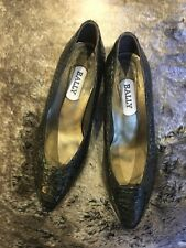 Bally Green Patent Leather Snake Effect Shoes Size 4