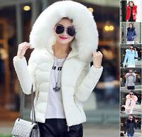 Winter Women Down Cotton Short Slim Fur Collar Hooded Coat Jacket Parka Overcoat