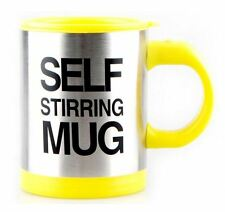 Yellow Self Stirring Mug Coffee Cup Tea Auto Mixer Insulate Stainless 400ml New
