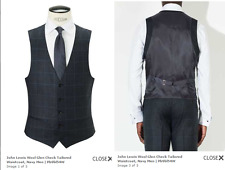 John Lewis Milled Wool Glen Check Tailored Waistcoat, Navy - 38R BNWT £60