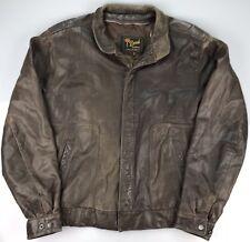 Vtg Reed Brown Distressed Leather Cafe Racer Jacket Bomber Motorcycle Coat Large
